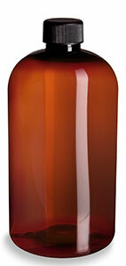 16 oz Amber PET Boston Round Plastic Bottle with Black Cap - PXA16B