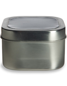 8 oz Square Deep Container Tin with Clear Top Cover - TCSS8