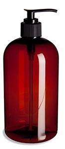 16 oz Amber PET Boston Round Plastic Bottle with Black Pump - PXA16P