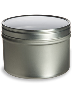 8 oz Deep Tin Container with Clear Top Cover - TCT8