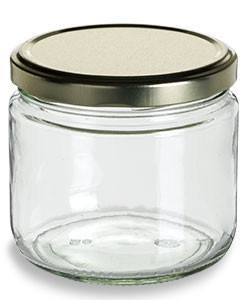 11.5 oz Clear Straight Sided Glass Jar with Gold Lid - SS11TL