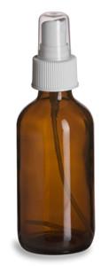 4 oz Amber Boston Round Glass Bottle with White Atomizer - BRA4AW