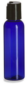 2 oz Blue PET Cosmo Plastic Bottle with Black Disc Cap - PBR2DB