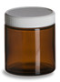 4 oz Amber Straight Sided Glass Jar with White Lid - SALV4AW