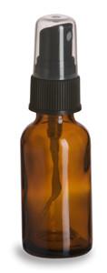 1 oz Amber Boston Round Glass Bottle with Black Atomizer - BRA1AB