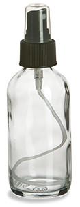 4 oz Clear Boston Round Glass Bottle with Black Atomizer - BRF4AB