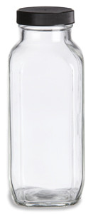 16 oz Clear French Square Glass Bottle with Black Cap - FSQ16