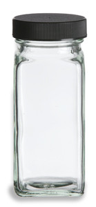 4 oz Clear French Square Glass Bottle with Black Cap - FSQ4