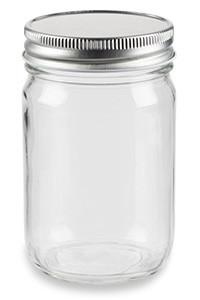 12 oz Eco Mason Glass Jar with Silver Lid - ECO12S