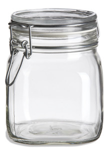 30 Oz Bale Square Glass Jar With Swing Top Lid