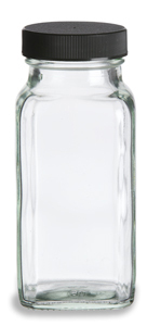 6 oz Spice Jar Square Glass with Shaker Fitment and Black Lid - HBSQ6B