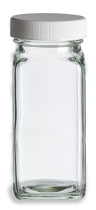 Square Spice Bottle with White Lid 4 oz Specialty Bottle