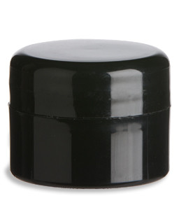 1/4 oz Double Wall Black Plastic Jar with Dome Lid - DOUB1/4