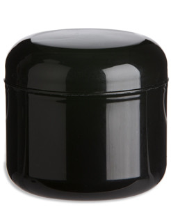 4 oz Double Wall Black Plastic Jar with Dome Lid - DOUB4