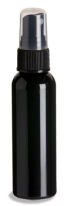 2 oz Black PET Cosmo Plastic Bottle with Black Atomizer - PKR2AB