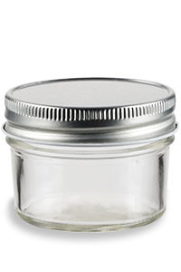 4 oz Eco Mason Tapered Glass Jar  with Silver Lid - ECO4S