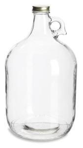 1 Gallon (128 oz) Clear Glass Jug with Gold Metal Cap - JUG1G