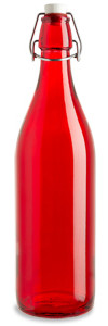 1 Liter (34 oz) Red Giara Glass Bottle with Swing Top - GIARR34ST