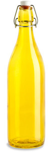 1 Liter (34 oz) Yellow Giara Glass Bottle with Swing Top - GIARY34ST