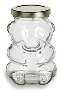 Bear Glass Jar 9 Oz W Gold Lid