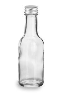 1 7 Oz Woozy Round Glass Bottle With Silver Cap