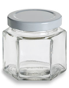 Hexagon Glass Jar With White Lid 4 Oz Specialty Bottle