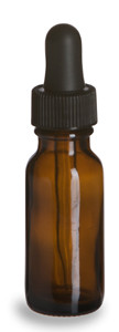 1/2 oz Amber Boston Round Glass Bottle with Dropper - BRA1/2D