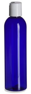 8 oz Blue PET Cosmo Plastic Bottle with White Disc Cap - PBR8DW