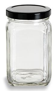 Victorian Square Glass Jar With Black Lid 10 Oz