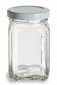 Victorian Square Glass Jar With White Lid 6 Oz