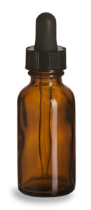 1 oz Amber Boston Round Glass Bottle with Dropper - BRA1D