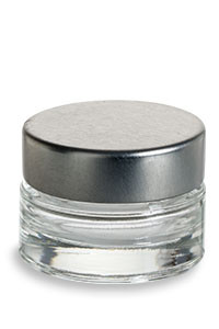 Heavy Base Clear Glass Jar With Silver Lid 1 4 Oz
