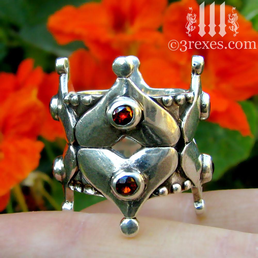 fairy tale gothic heart wedding crown with garnets