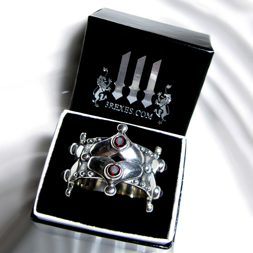 medieval silver wedding crown ring with 3 rexes glam box