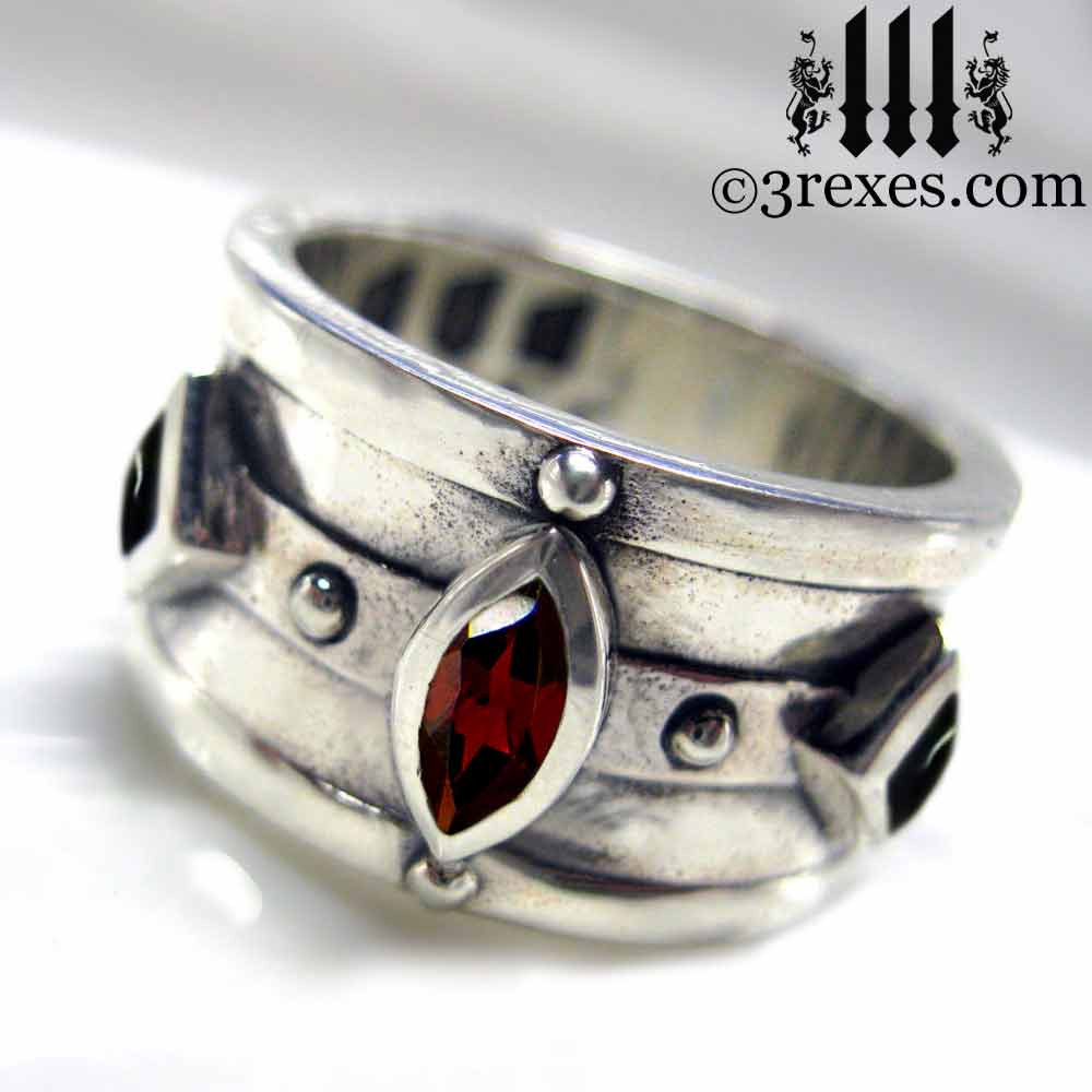 .925 sterling silver medieval ring with gothic garnet