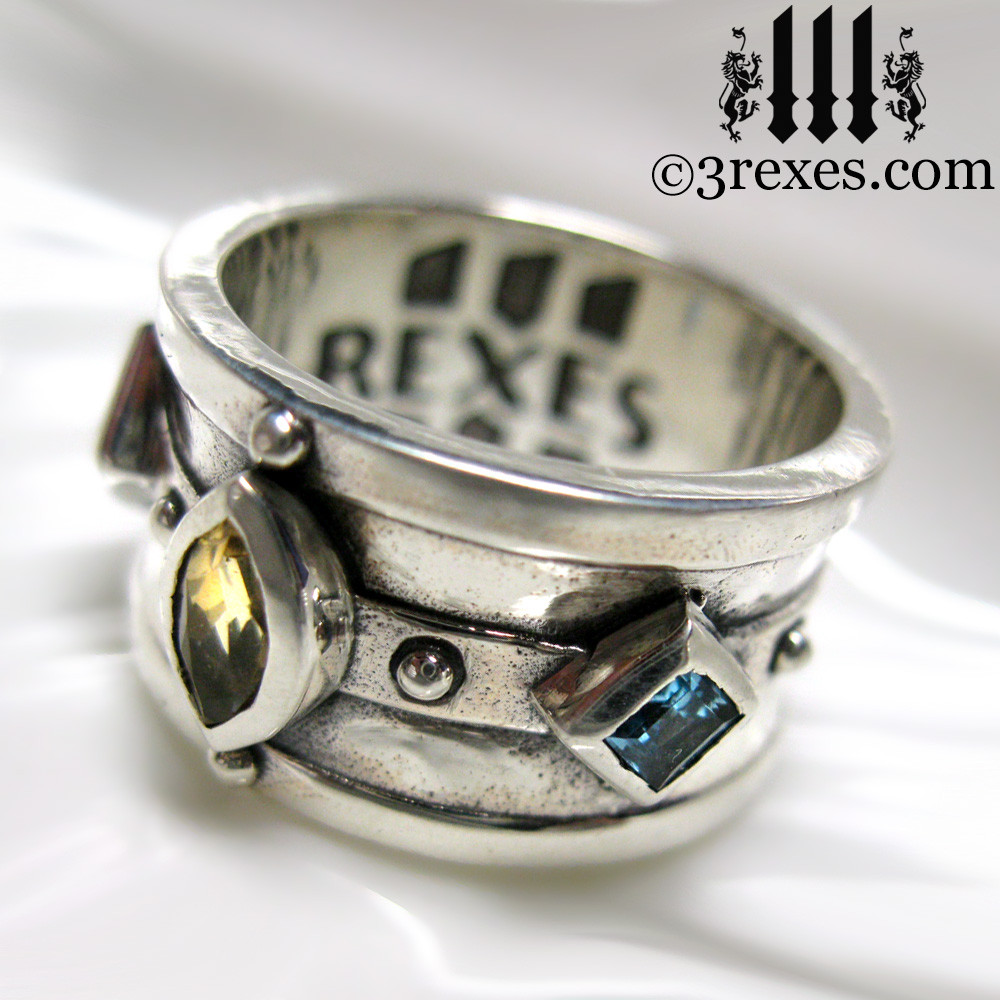 .925 sterling silver medieval ring with citrine