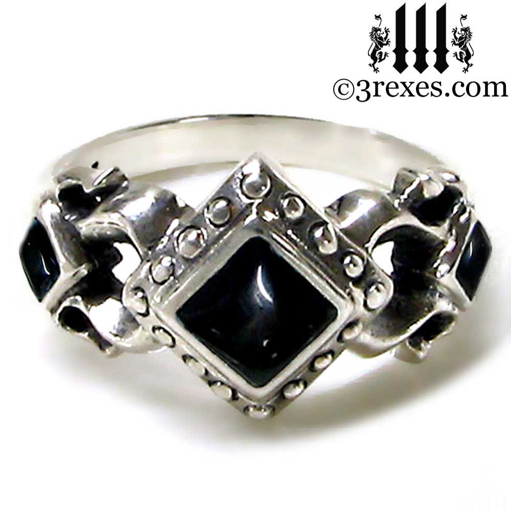 medieval wedding ring with black onyx cabochon stones .925 sterling silver