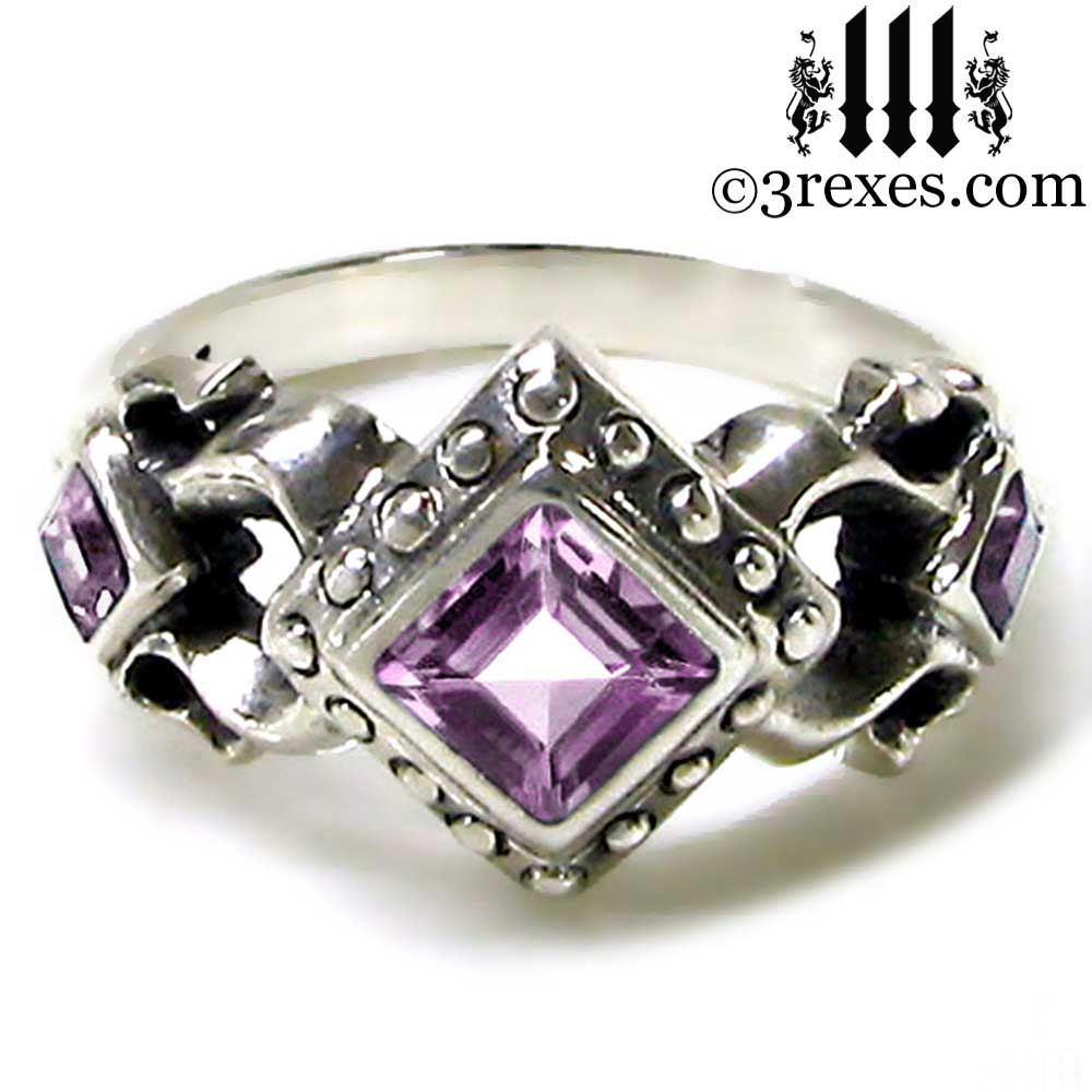 medieval wedding ring with amethyst stones .925 sterling silver