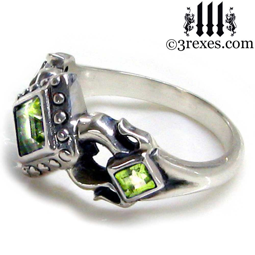 medieval wedding ring side view .925 sterling silver