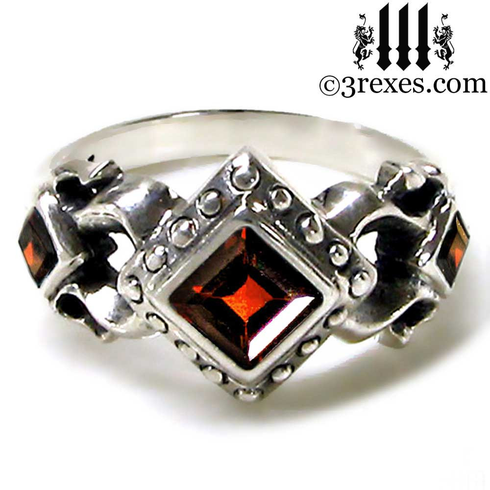 medieval wedding ring with garnet stones .925 sterling silver