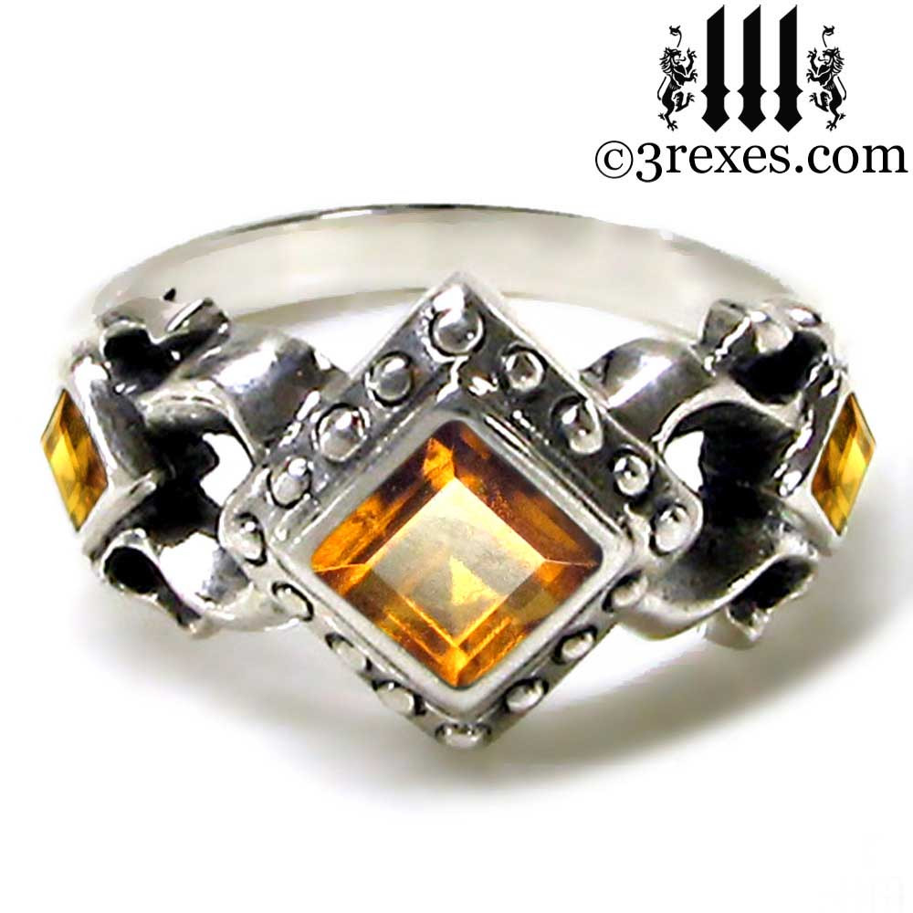 medieval wedding ring with citrine stones .925 sterling silver