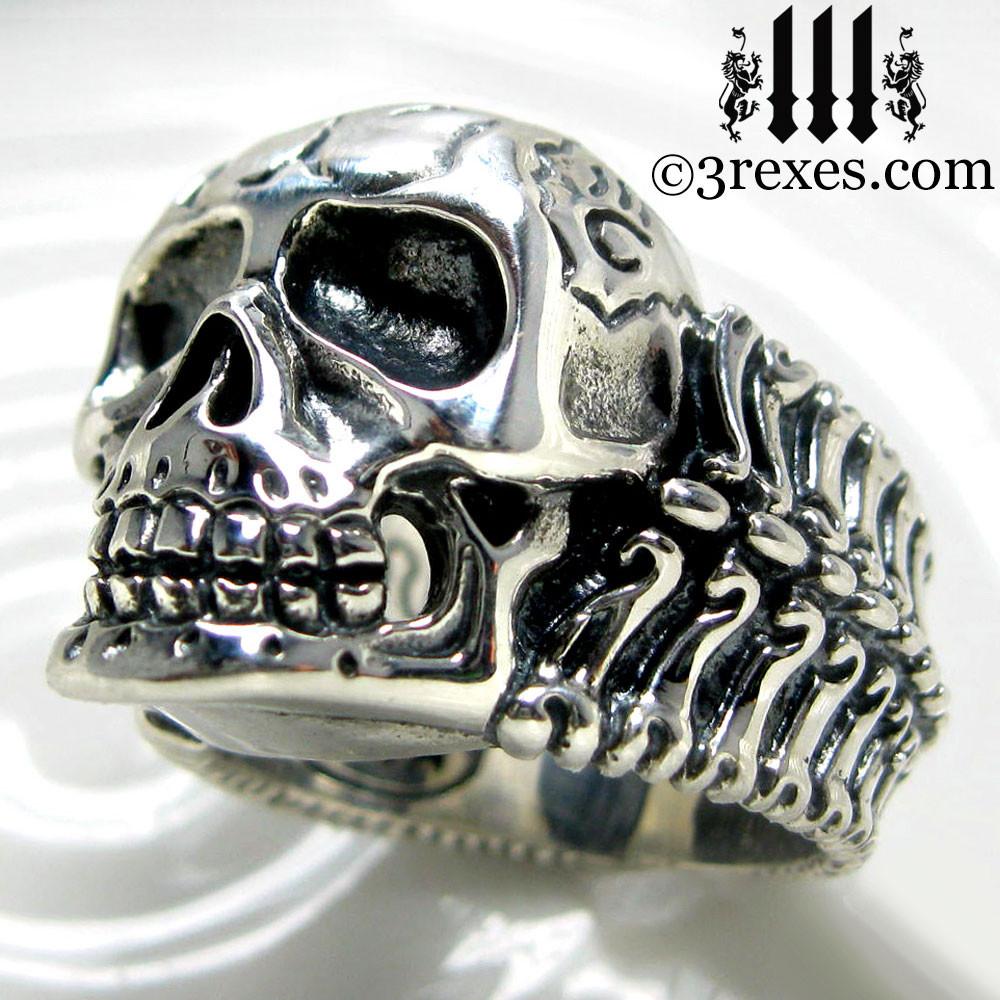silver skull biker ring .925 sterling bone band