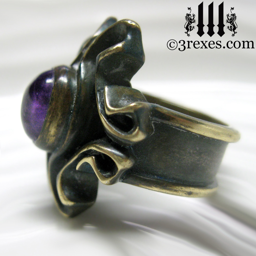 empress vampire brass ring with amethyst cabochon side detail