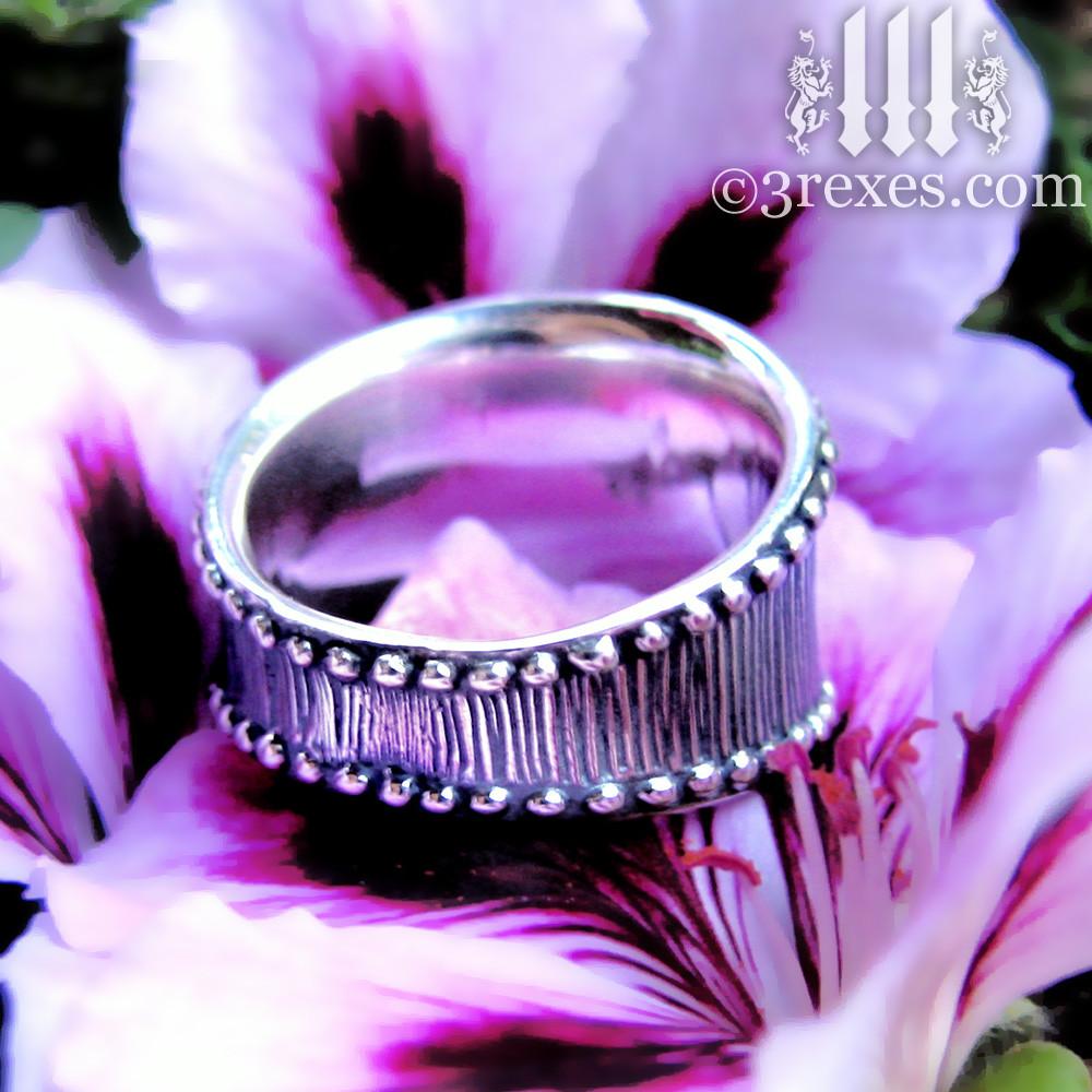 medieval studded heart ring .925 sterling silver back detail