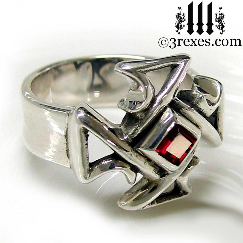 silver celtic cross ring with garnet