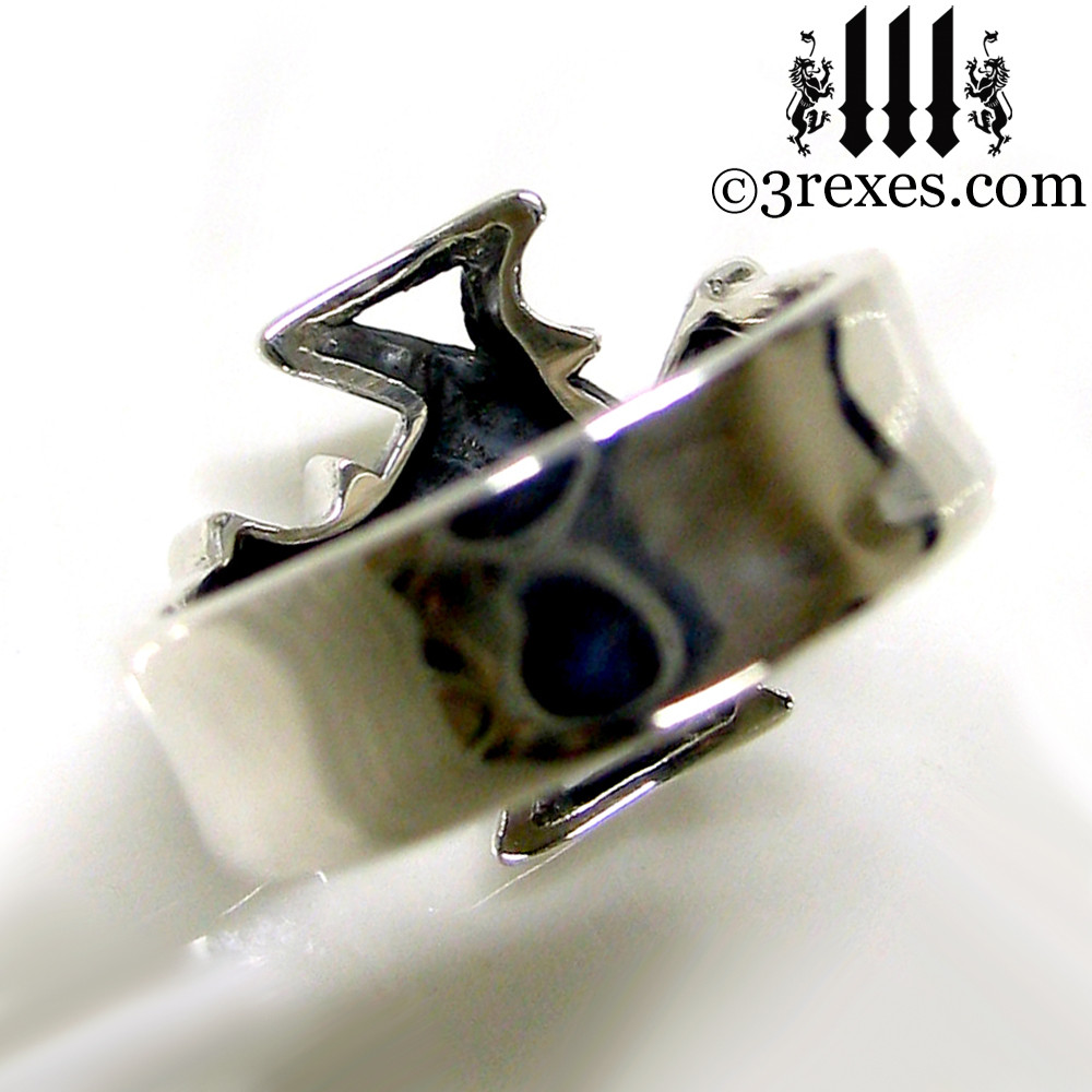 """silver celtic cross ring with 1/4"""" silver band"""