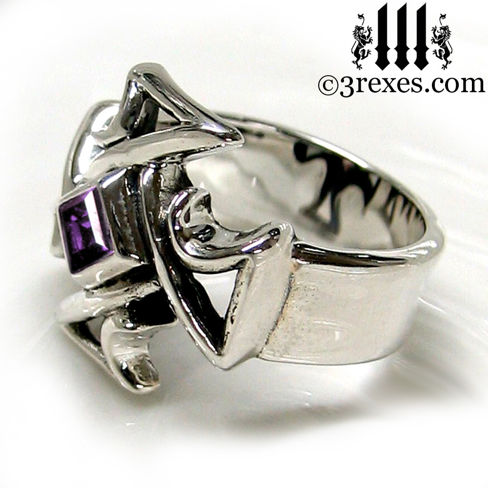 silver celtic cross ring with amethyst
