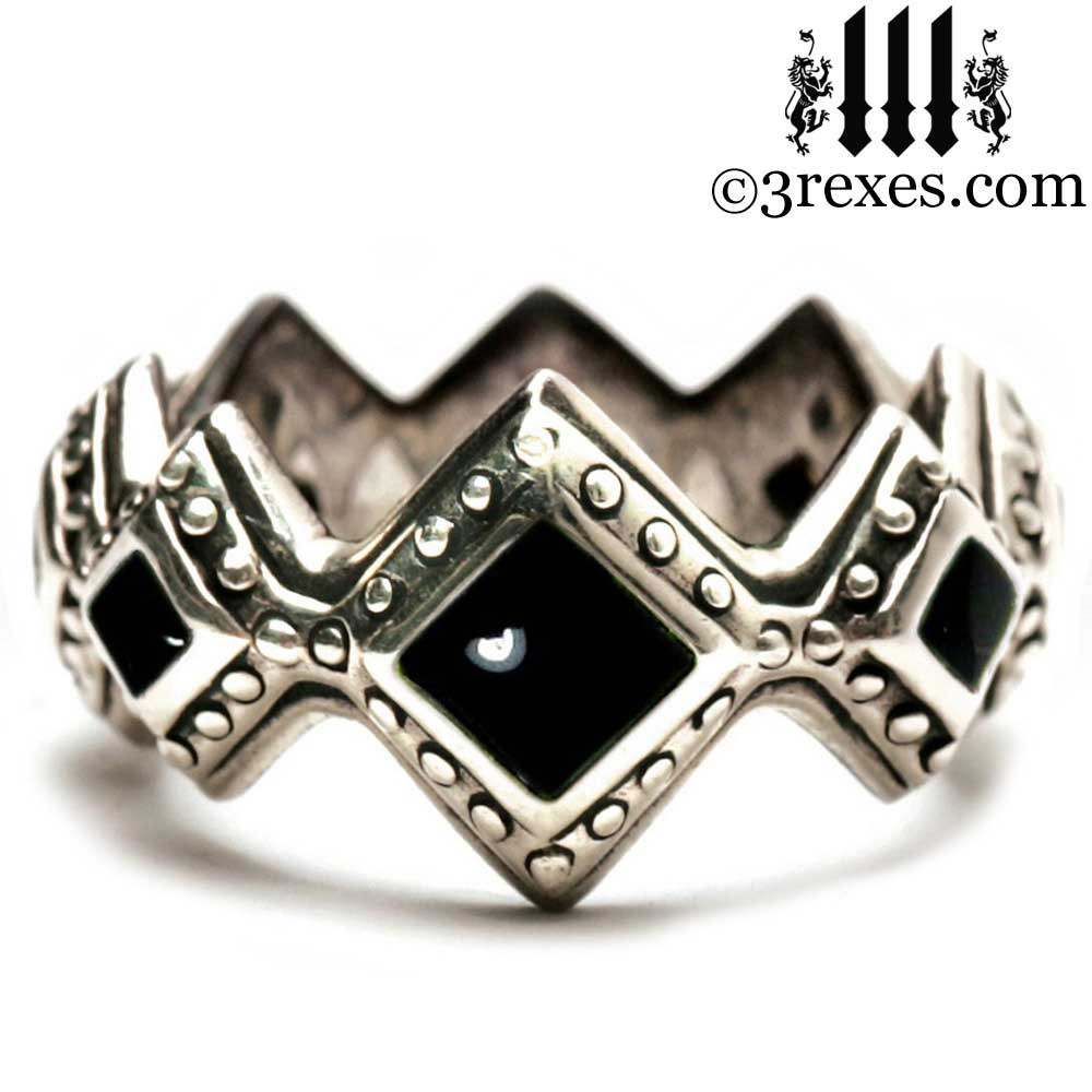 silver renaissance wedding ring with black onyx cabochon stones