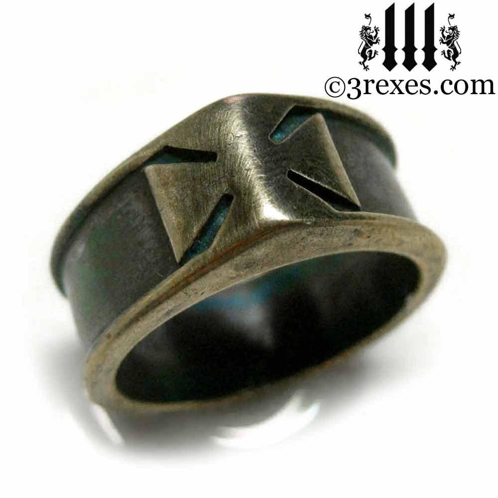 iron cross ring with darkened brass