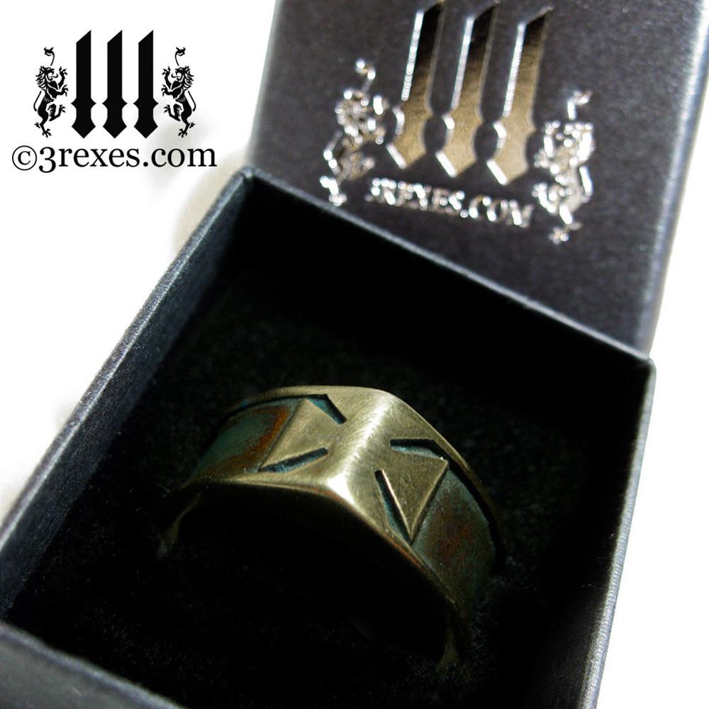 3 rexes prestige ring box with brass knights templar iron cross ring